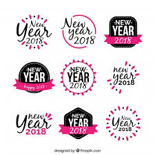 new year sticker new year sticker in black and pink vector free