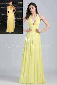 plunging halter blake lively yellow chiffon a line long celebrity