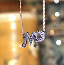 Monogram Initials Necklace Diamond Cut Initial Necklace Be Monogrammed