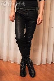 men shiny black long fitted pants rock punk for sale
