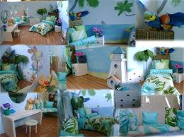 bedroom beach themed bedding with wooden floor and standing lamp