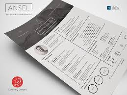 modern swiss style resume cv psd templates ansel photoshop psd resume template instant download