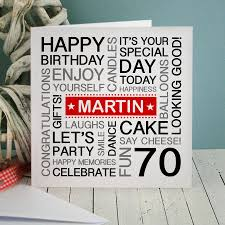 70th Birthday Cards Personalised 70th Birthday Card By A Type Of Design