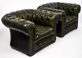 Chesterfield Armchairs For Sale Pair Of Green Leather Vintage Chesterfield Armchairs For Sale At