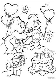 coloring care bears birthday cake coloring special color