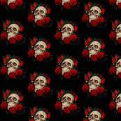 skull fabric wallpaper gift wrap spoonflower