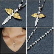 sterling gold necklace images Flying sword with wings 18k gold plated over sterling silver jpg