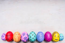 colored ornamental eggs for easter with painted faces border