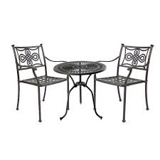 Black Bistro Table Bistro Table 71cm 2 Knot Chairs Black Outside Edge Metal
