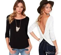 fashion open back casual tops long sleeve deep v neck t shirt