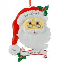 santa claus we believe ornament personalized ornaments