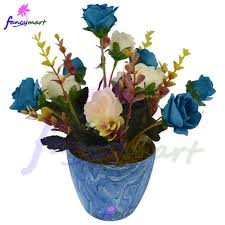 flowers arrangement artificial flowers arrangement of roses in marble finish pot at rs