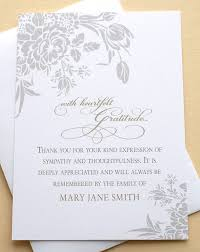 funeral card custom sympathy thank you cards thank you funeral cards with grey
