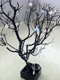 30 black painted tree jewelry holder with flowers