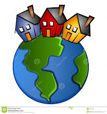 global houses earth with 3 houses clip art stock illustration image 2794709