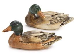 amazon com set of 2 hand painted mallard duck figurines statues