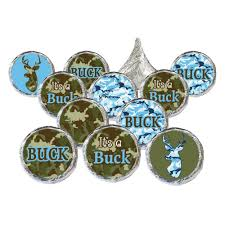 it u0027s a buck baby camo shower candy stickers and foil wrappers