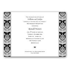 black and white ornate petite retirement invitations paperstyle