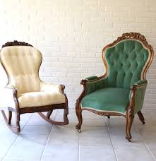 Antique Upholstered Armchairs Antique Victorian Upholstered Armchair And Rocking Chair Ebth