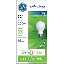 ge 3 way light bulb 30 70 100 watt incandescent soft white 1