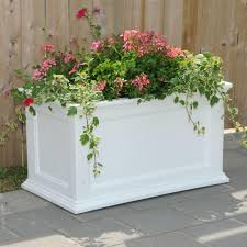mayne fairfield 36 in x 20 in white plastic planter 5826w the