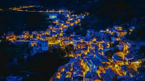 castelmezzano italy houses night lights wallpaper travel and