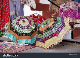 colorful ethnic umbrellas decorations on rajasthan stock photo