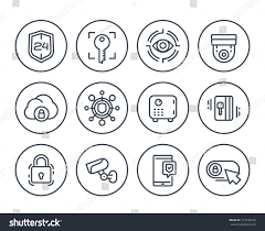 security line icons on white video stock vector 713738164