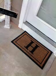 Entryway Door Mats Black Estate Monogram Coco Mat Single Picture Frame Green 22 In X
