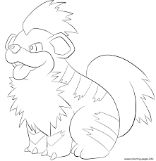 058 growlithe pokemon coloring pages printable