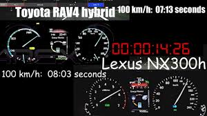 lexus nx and toyota rav4 toyota rav4 hybrid versus lexus nx300h acceleration video