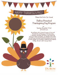 thanksgiving program information dubow preschool parent portal