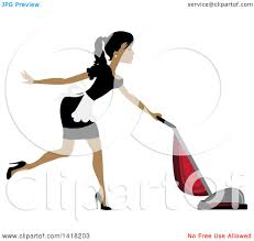 clipart of a dark skinned female maid vacuuming royalty free