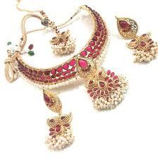 kempu earrings pink kempu choker necklace with earrings and maang tikaa