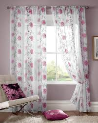 Pink Ruffle Curtains Panels by Lombok Rod Pocket Voile Cerise Free Uk Delivery Terrys Fabrics