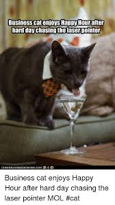 Business Cat Memes - business cat enjoys happy hour after hard day chasing the laser