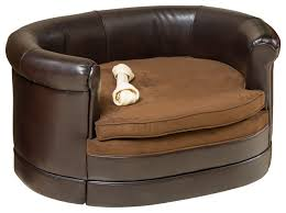 rover oval chocolate brown leather pet sofa bed contemporary