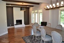 Gray Accent Wall by Breakfast Nook Remodel With Painted Fireplace Dark Gray Accent