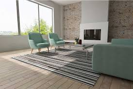 Black And White Living Room Rug Striped Black Gray And White Leather Area Rug Designed By Shine