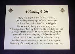 wedding wishes gift registry personalised small wedding wishing well poem cards money request