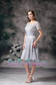 square short sleeves grey knee length dresses for prom with lace