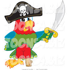 vector illustration of a cartoon parrot mascot dressed as a pirate