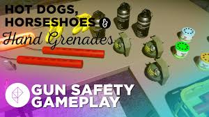 dogs horseshoes and grenades looking at guns in