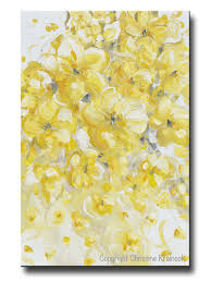 original art yellow grey abstract painting flowers floral home