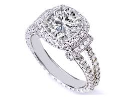 engagement settings jewelry rings round center stone with cushion halo engagement