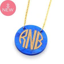 monogram necklace acrylic acrylic monogram disc necklace more colors monogram necklaces