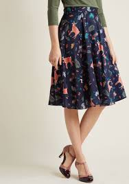 midi skirt with pockets in forest critters