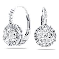 are leverback earrings for pierced ears 14k white gold lever back earrings with diamond cluster