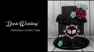 dark wedding halloween gothic cake tutorial youtube