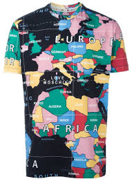World Map T Shirt by Love Moschino Map Print T Shirt In Black For Men Lyst